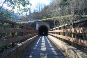 puente de madera y entrada a tunel